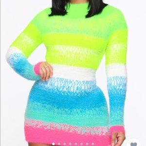 Cotton candy sweater dress.